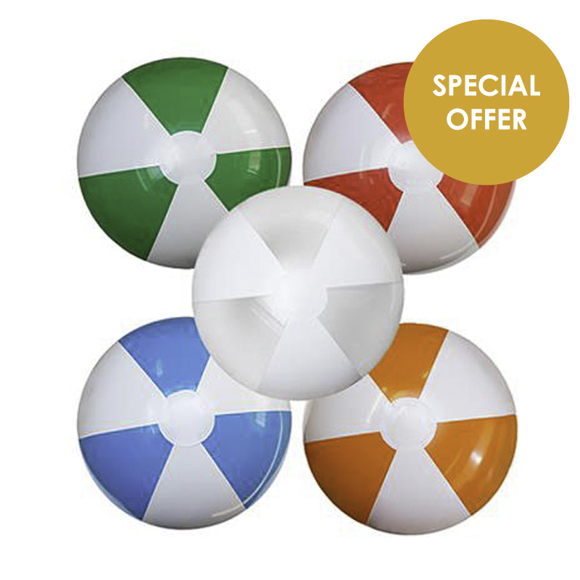 Large Beach Ball in green, red, clear, blue and orange and white