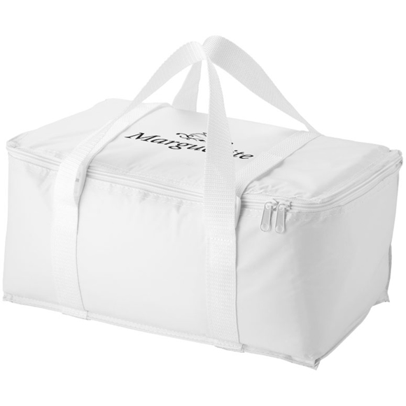 Large white cooler bag with a customer logo printed on the top