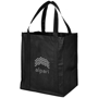 Large black reusable grocery bag with company logo printed on one side