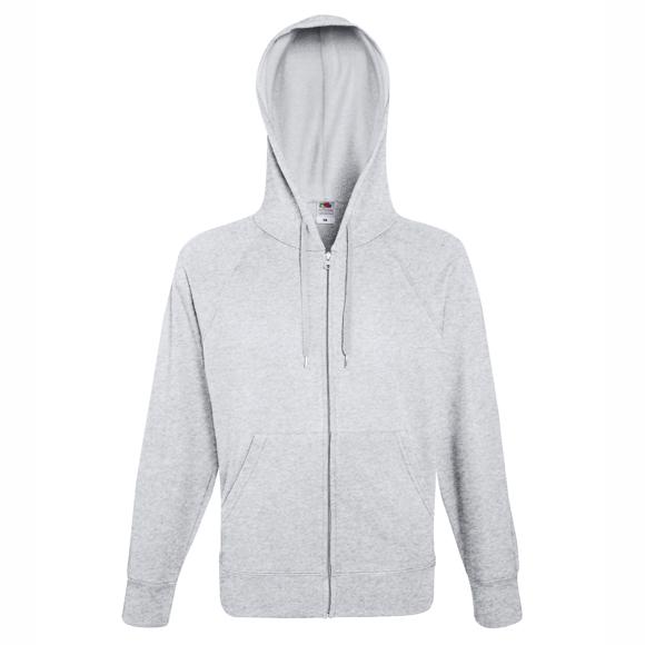Lightweight Full Zip Hoodie in grey with drawstrings