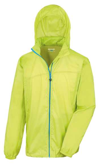 Lightweight Stowable Jacket in green with full zip in blue