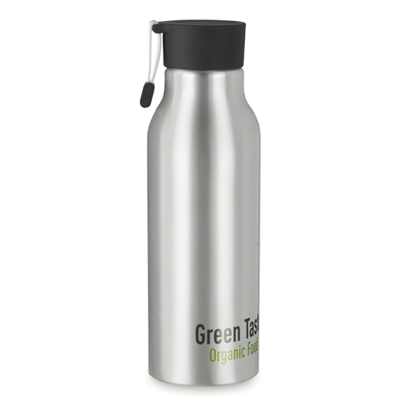 stainless steel  madison bottle with black lid and strap