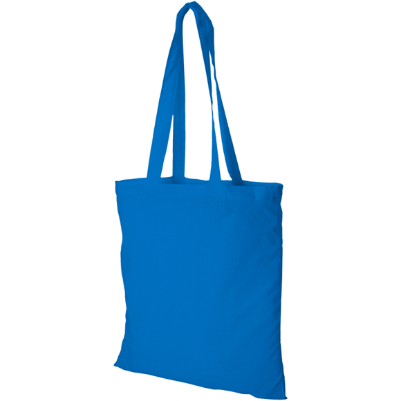 Cyan long handles shopper bag