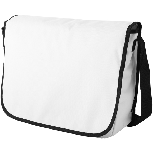 White flap over messenger bag with black piping and matching shoulder strap