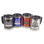 Matisse Travel Mug in black, blue, red and silver with 2 colour print logo