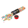 Large tube printed with a company logo and filled with multi colours millions chewy sweets