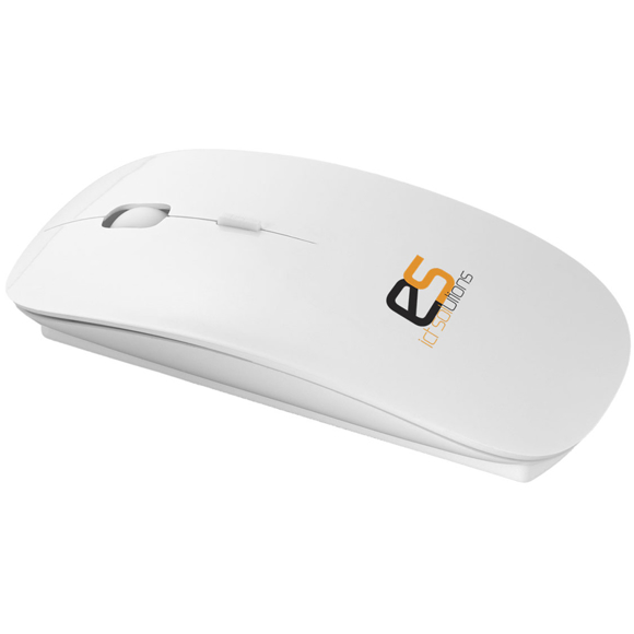 White computer mouse printed with a company logo
