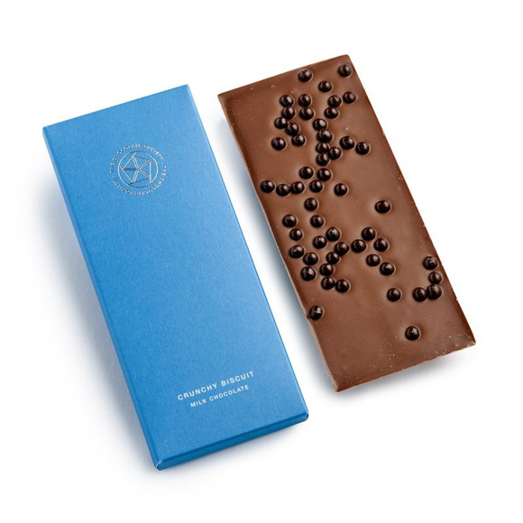 Chocolate bar with biscuit pieces in a luxury card box