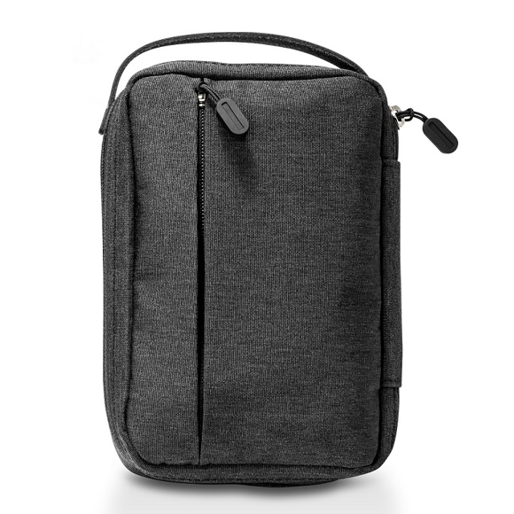 Dark grey zip up pouch for storing tech accessories