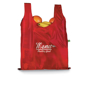Branded red folding shopper bag with groceries