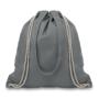 Grey cotton drawstring bag with option shoulder straps