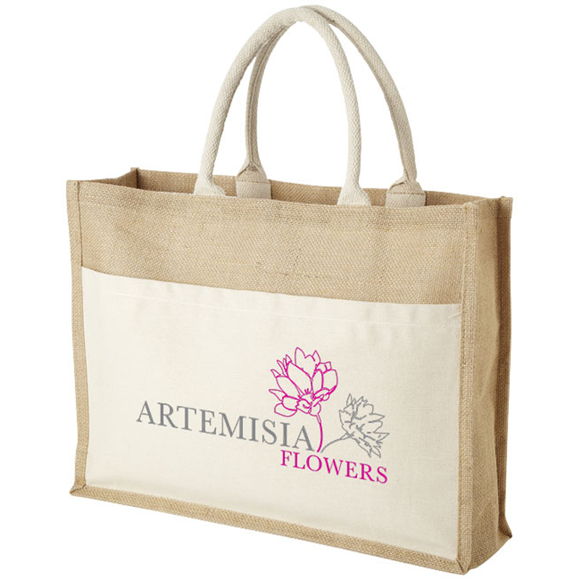 Jute landscape shopper bag with branding panel at the front