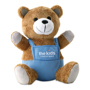 nico bear with blue dungarees and a 2 colour logo