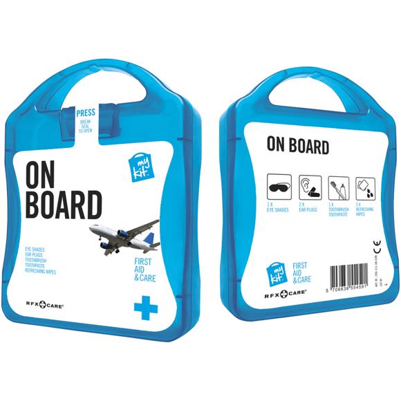 blue on board travel set case