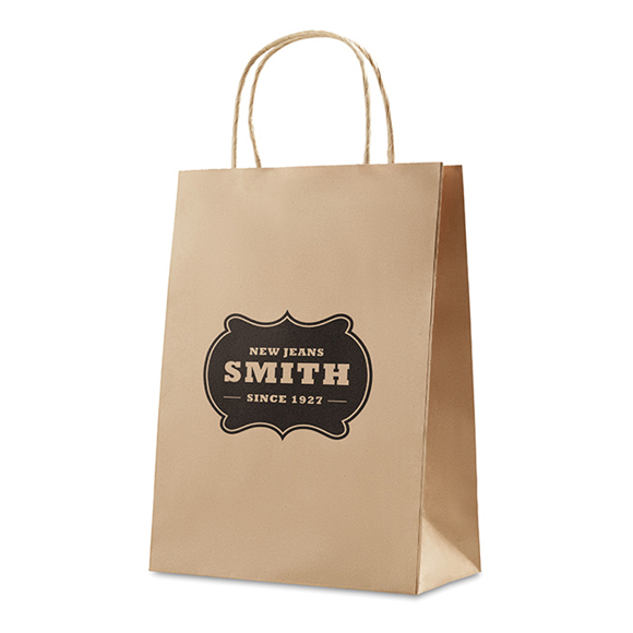 Medium size gift paper bag with rope handles in brown with 1 colour print logo
