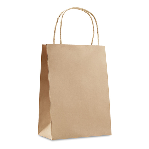 Small size gift paper bag with rope handles in brown