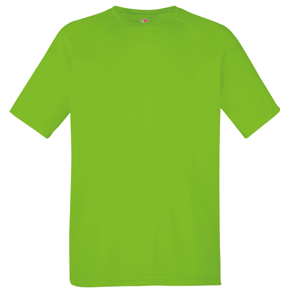 Performance Tee in green with crew neck