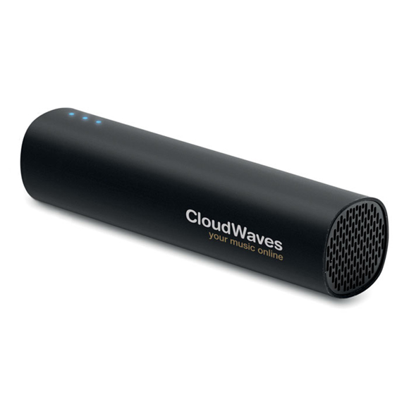 Black tube shaped power bank with a logo printed to the side