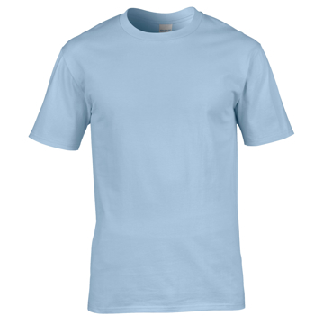 Premium Cotton T-Shirt in light blue with taped crew neck