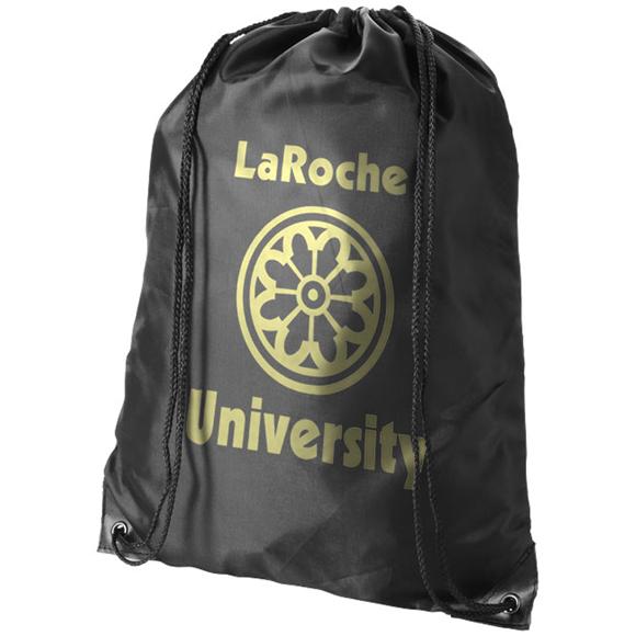 black premium nylon drawstring rucksack with 1 colour logo to front