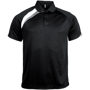 Proact Polo Shirt in black with white and grey contrast panels, collar and 2 buttons