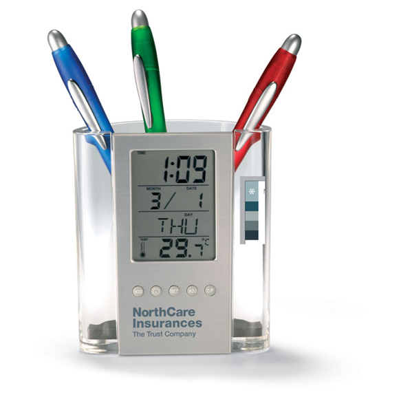 Desk pen pot with digital clock to the front, and company logo printed on the panel