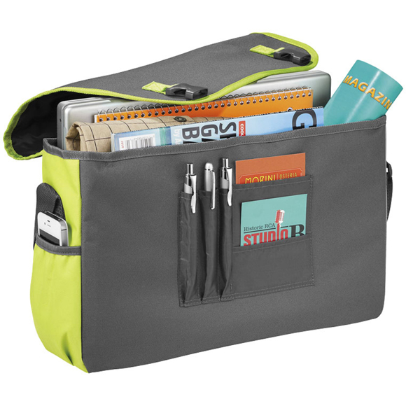 Grey laptop messenger bag with lime green side panels and trim