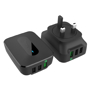 Speedy Charger USB Port in black with 3 USB ports
