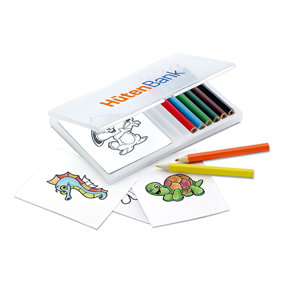 recreation colouring set with coloured in sheets