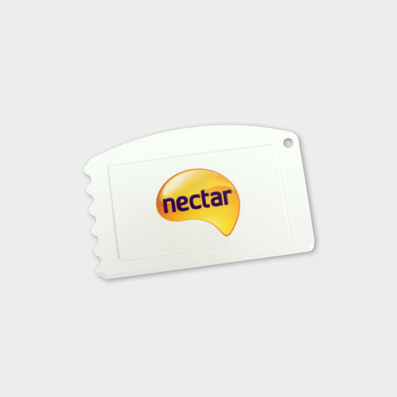 Recycled Credit Card Ice Scraper  in white with full colour print logo