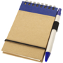 Recycled Jotter with wire binding, black elastic closure strap, blue coloured trim and colour match pen