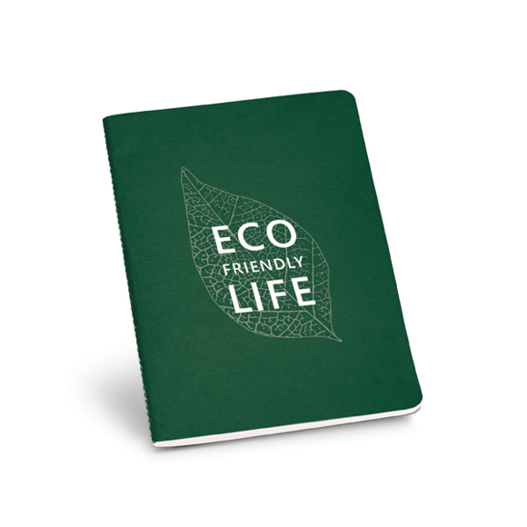 Recycled cardboard notebook in dark green with 1 colour print logo