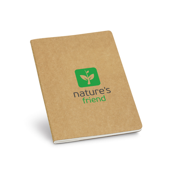Recycled Notepad in brown with 2 colour print logo