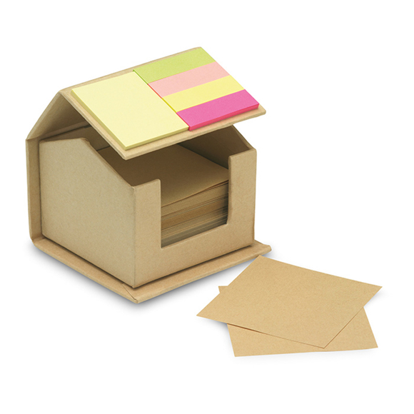 House shaped cardboard box in recycled material, containing 300 pages of recycled paper and colourful memo stickers on roof