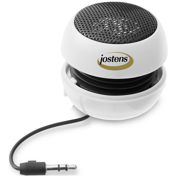 white ripple bluetooth speaker with cable wrapped around the centre