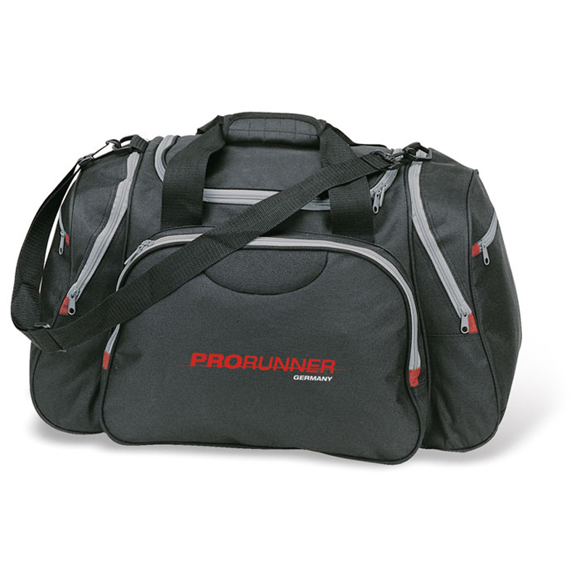 Ronda Bag in black with grey zip details and 2 colour logo