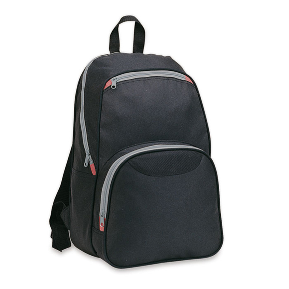 Ronda Backpack in black with grey zips and red details