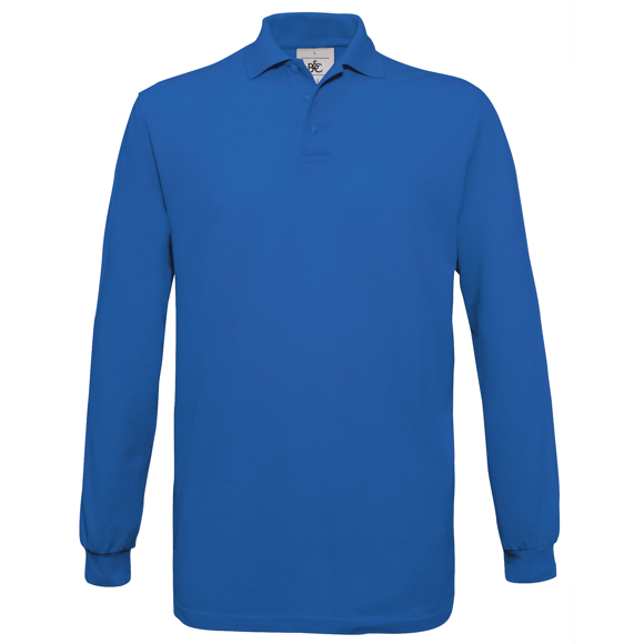 Safran Long Sleeve Polo in blue with collar and 3 buttons