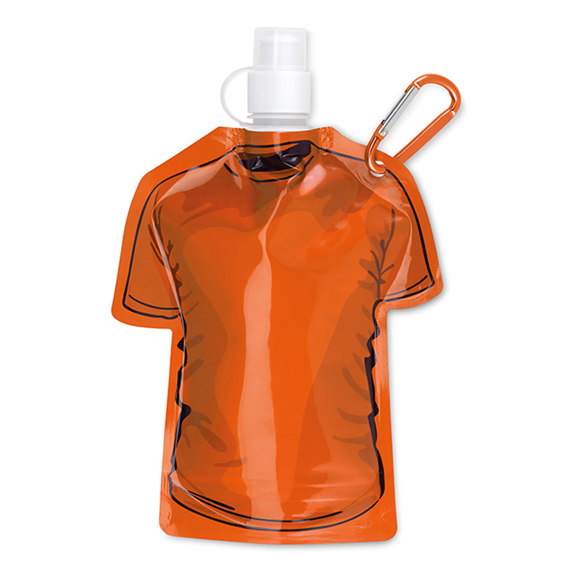 Sports Shirt Water Bottle With Clip - Orange