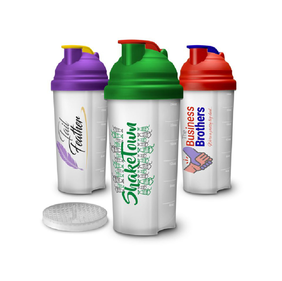 3 shaker bottles with different coloured lids and full colour branding