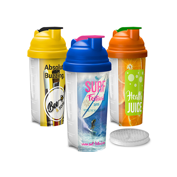 3 gym shaker bottles with different trim colours and full colour branding