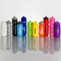 sports bottles lined up in various colour and sizes