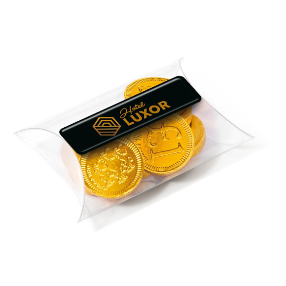 Chocolate coins in a small clear pouch branded with a personalised label