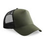 Snapback Trucker with green cotton front panel and visor and black mesh rear panels