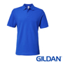 Softstyle Double Pique Short Sleeve Polo in blue with collar and 2 colour matched buttons