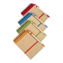 A6 sonora recycled notebook with wire binding and coloured trim with colour matching pens and coloured elastic closure strap and pen loop in orange, green, blue and red with recycled ball pen with biodegradable plastic parts