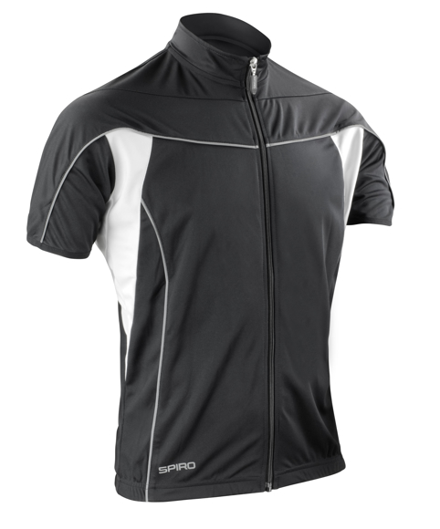 Spiro Bikewear full zip in black with reflective piping and white contrast panels