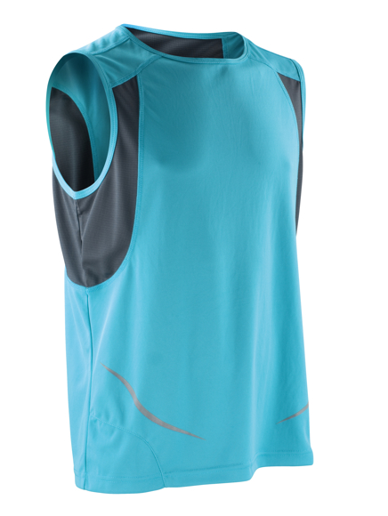 Sports Athletic Vest in blue with black panels under arm and reflective spiro print
