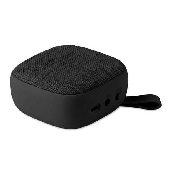 black square fabric bluetooth speaker