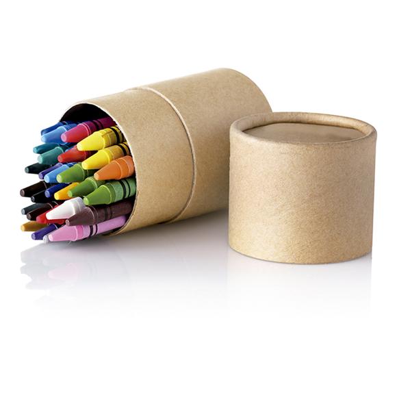 cardboard tube of striper crayons open